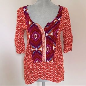 Anthro Akemi + Kin Ikat Print Split Neck Top